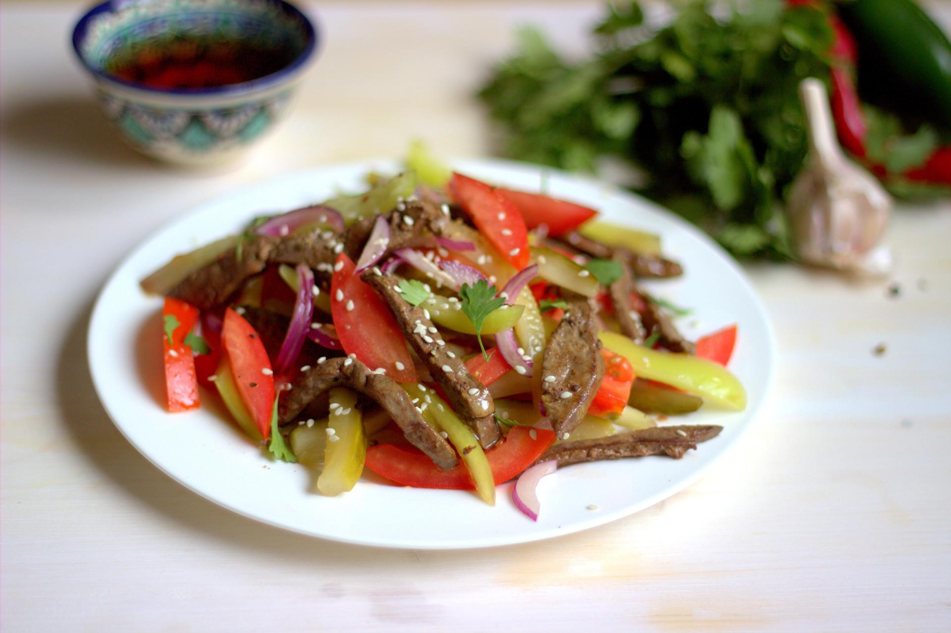 Восточный салаты с мясом